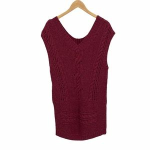 Free People burgundy red wool v-neck sweater